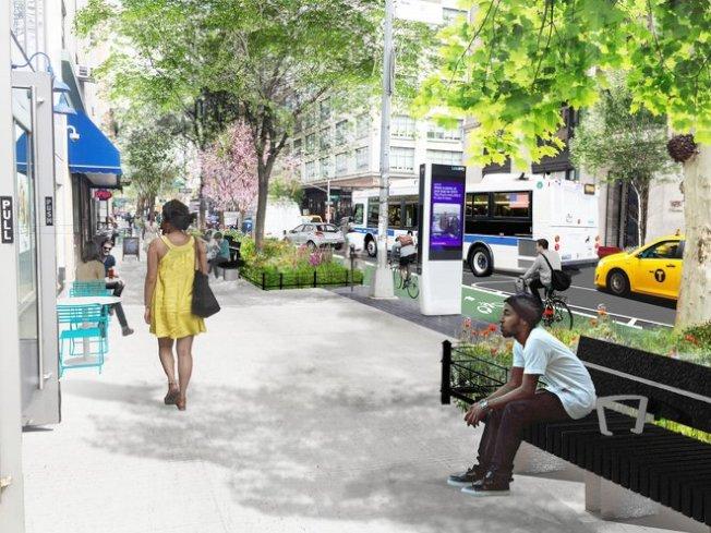 市府日前表示,已開始在從堅尼路至豪斯頓街的哈德遜街開工建設新的受保護單車道,圖為建成後的效果圖。(設計公司提供)