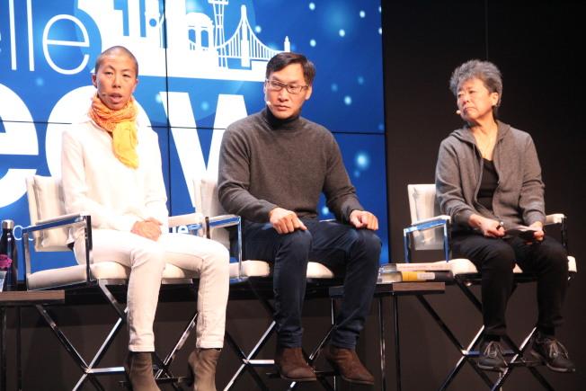 三位演講人討論社會暴力以及亞裔創傷。左起余嘉雯、鄭小飛和謝漢蘭。(記者李晗/攝影)