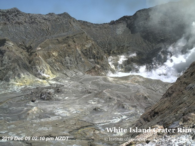 圖為紐西蘭地質與核子科學研究院公布的懷特火山的空拍照。(歐新社)