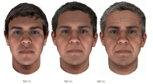 警方通過DNA確認兩位瑪琍昂被同一人殺害,近日通過新科技還原嫌疑人25歲、40歲和55歲的樣貌。(費郡警方提供)