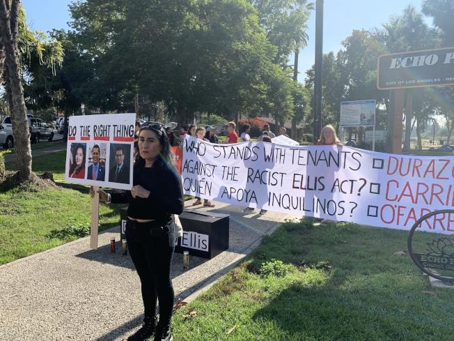 洛杉磯租戶聯盟在回聲公園抗議。(記者王子銘/攝影)