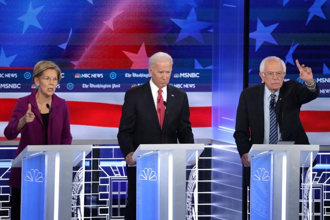 柏克萊加大最新民調查發現,華倫和白登在加州的聲望下滑,桑德斯的聲望上升。(Getty Images)