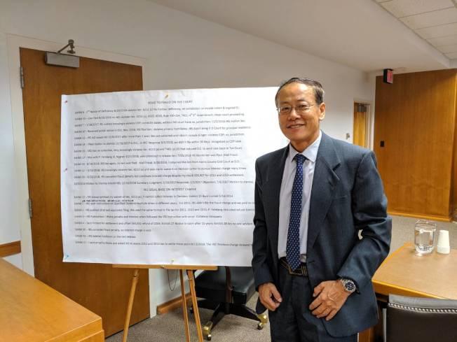 劉瑩在法庭上羅列各項書面證據。(記者蕭永群/攝影)