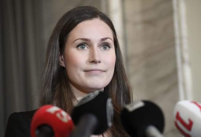 34歲馬林(Sanna Marin)擔任總理。美聯社