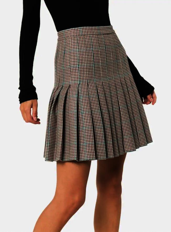 格子半身毛呢裙。(Off-white)