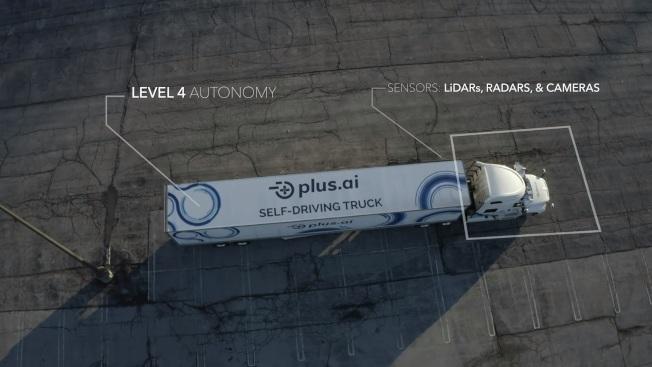 庫比蒂諾Plus.ai公司的自駕卡車完成業界創舉,花三天開2800哩從加州到賓州。(網路影片截圖)