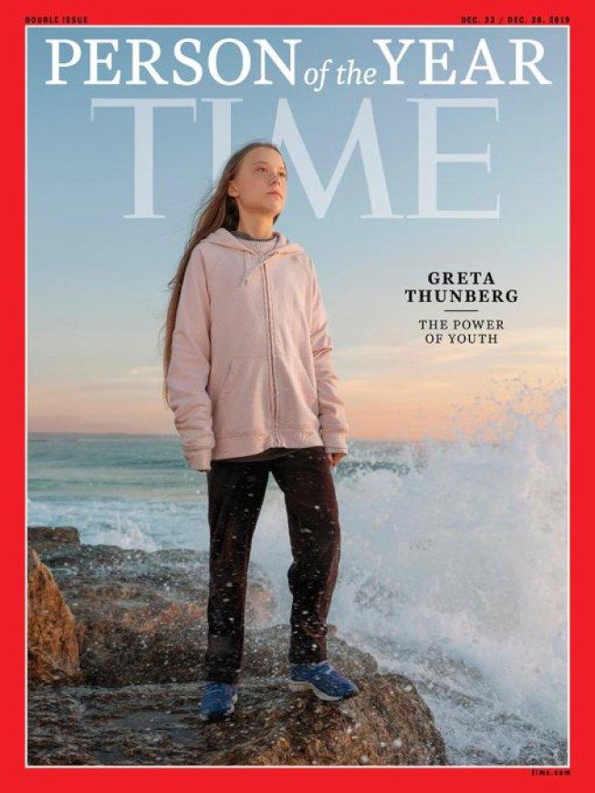 時代雜誌2019年度風雲人物為瑞典環保少女桑柏格。圖/截取自TIME