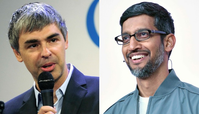 Alphabet的佩吉(左)將去職,由谷歌的皮察(右)接下雙重CEO職務。(Getty Images)