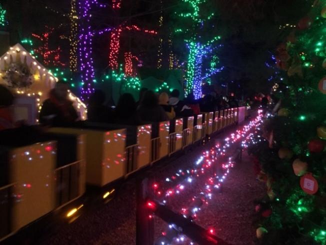 神奇森林內的佳節小火車。(記者馮鳴台/攝影)