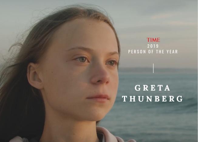 16歲瑞典環保少女童貝里獲得時代雜誌2019「年度風雲人物」殊榮。(時代雜誌)