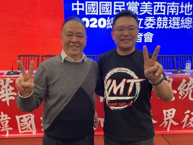 國民黨中央常務委員李昭平(左)、台北市議員張斯綱(右)事先抵洛,提早向洛城僑胞喊話。(記者謝雨珊/攝影)