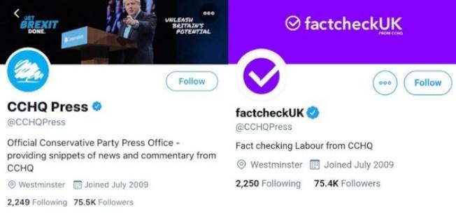 保守黨修改官方推特名稱誤導民眾。(取材自推特)