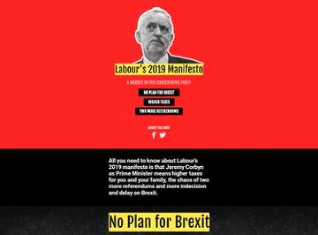 保守黨在科賓發表工黨宣言(Labour manifesto)後,也立刻創建了「工黨2019宣言」,批評工黨政策。(取材自推持)