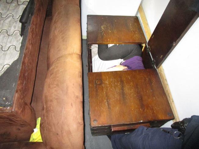 偷渡者藏匿家具中。(CBP提供)