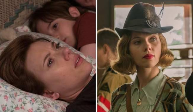 史卡莉喬涵森因「喬喬兔」、「婚姻故事」分別入圍最佳女配、女主兩項獎。(福斯探照燈、Netflix圖片)