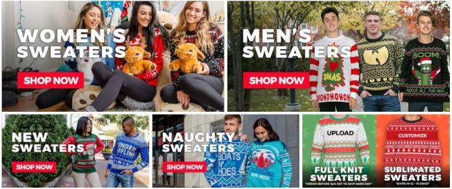 UglyChristmasSweater.com網站上有各式各樣的款式。(UglyChristmasSweater.com)