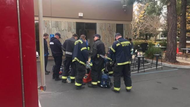 山景城Nuro公司傳出有毒物質洩漏,五名員工送醫。(截自影片)