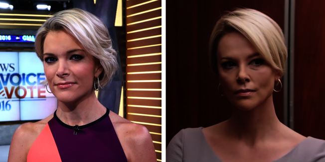 莎莉塞隆(右)出演的前福斯電視台的女主播梅根凱利(左),很有說服力。(圖:獅門提供)
