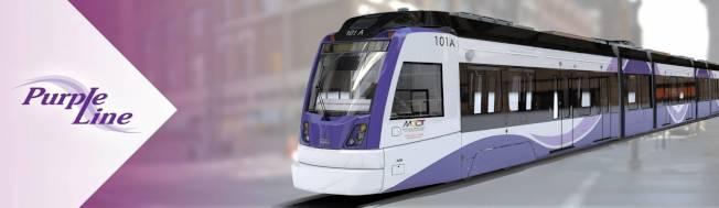 地鐵紫線是全程長16哩的輕軌,連接馬州蒙郡Bethesda站和維州喬治王子郡New Carrollton站。(馬州交通廳提供)
