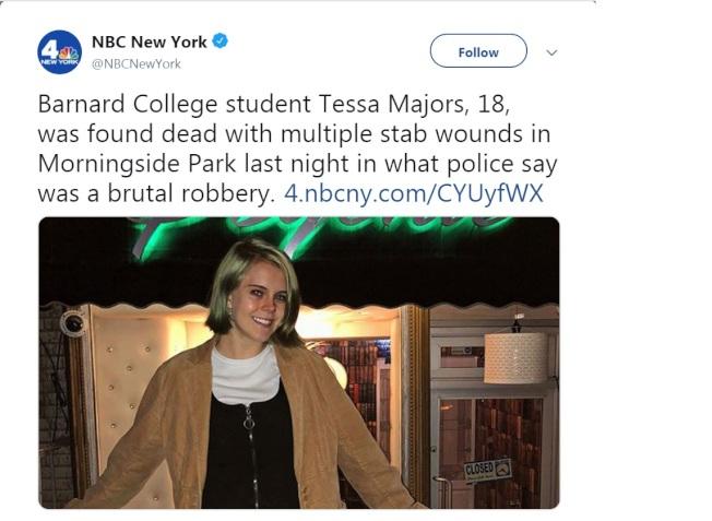 哥大巴納德學院大一新生遇劫被刺身亡,震驚紐約。(取自推特)
