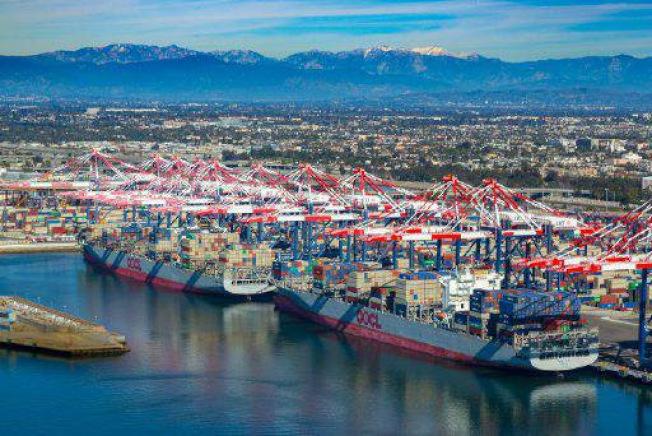洛杉磯長堤港是中美貿易的主要港口。(長堤港提供)