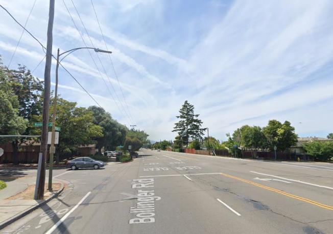 圖為車禍發生地點,聖荷西Bollinger Road與Wunderlich街路口。(Google街景圖)