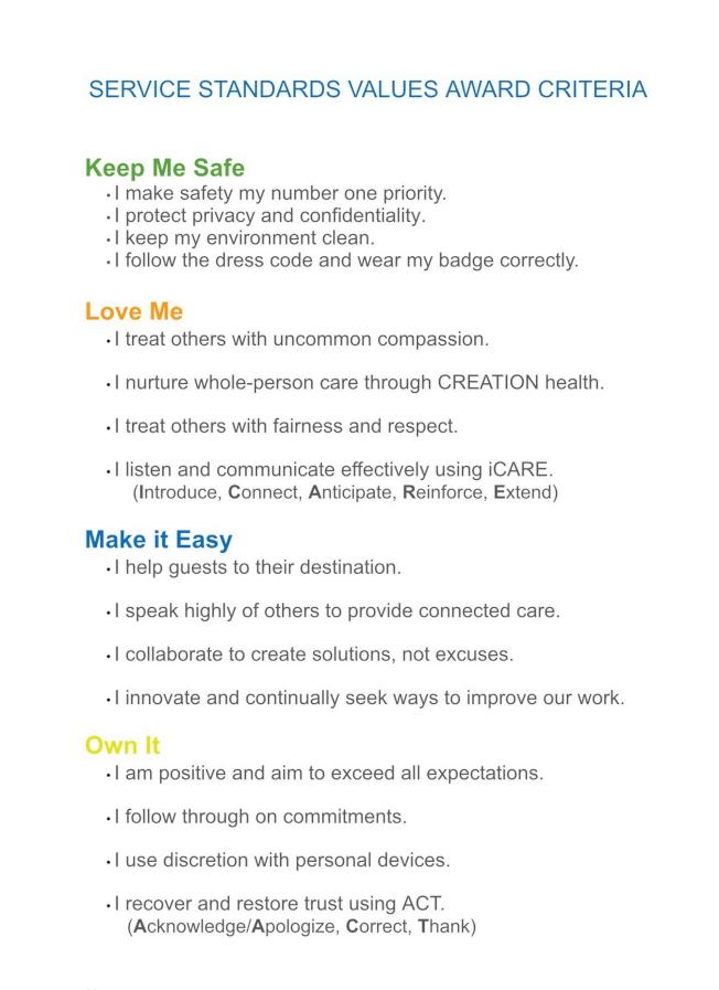 AdventHealth醫療(原佛羅里達醫院)最佳醫師獎(Service Standards Values Award)之評選標準。(記者陳文迪/攝影)