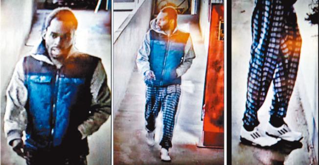 被告基德去年12月31日闖入華埠北平園的舉動被監控錄像拍到。(圖片由舊金山警察局提供)