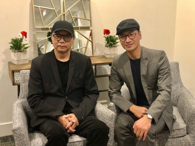 「宮」系列電視劇男演員何晟銘(右)和導演章家瑞14日亮相亞凱迪亞。(記者張宏/攝影)