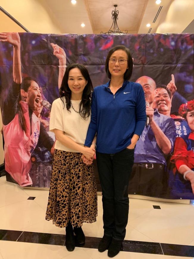 前女籃國手馬莉娜呼籲票投韓國瑜。(馬莉娜先生張秦岳提供)