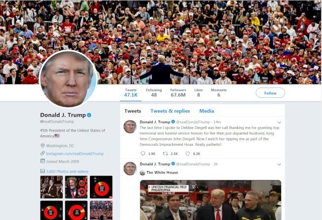 川普總統推特火力十足,成為他自我宣傳及對抗民主黨的利器。(川普推特)