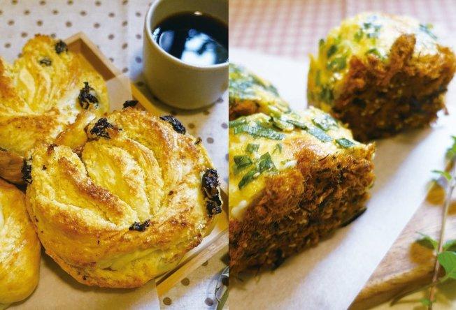 椰子麵包(左)與蔥花肉鬆捲是甜鹹兩種台式麵包經典。圖/太陽臉