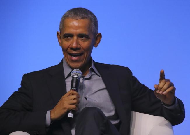 圖為歐巴馬13日在自家基金會於馬來西亞舉辦活動上演講情形。歐新社