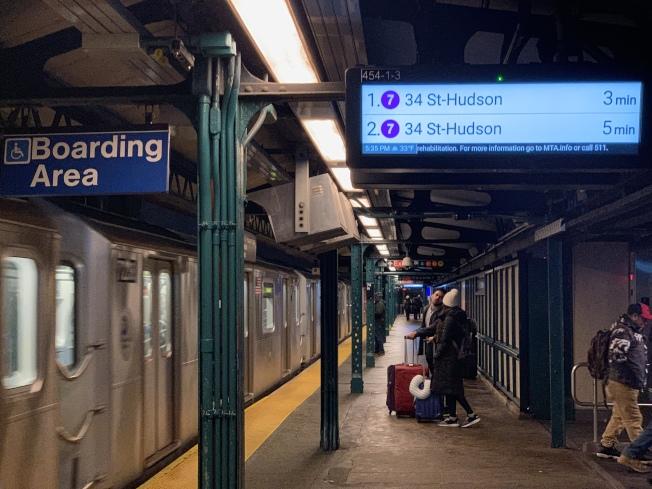 MTA稱地鐵7號線一年來提速、服務進步最多。(記者賴蕙榆/攝影)