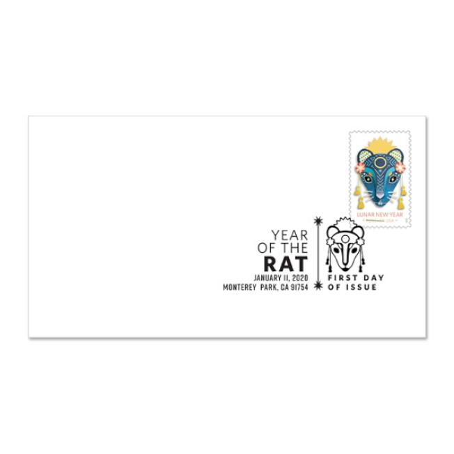 鼠年首日封、郵票展示圖。(美國郵政局提供)