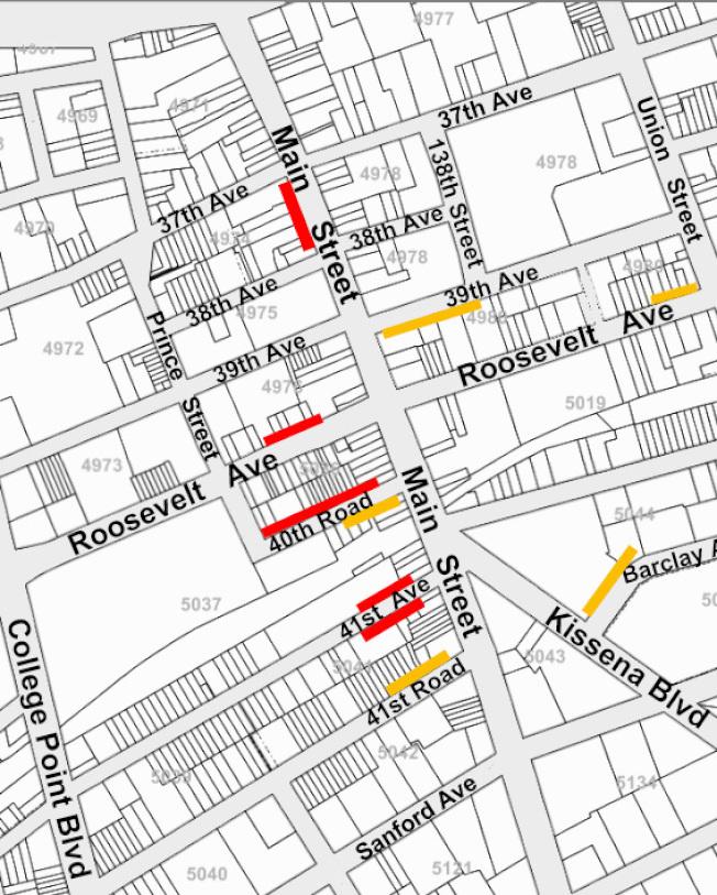 法拉盛市中心原有的五條(黃色線)卸貨區加上新設的五條卸貨區(紅色線),共有十條卸貨區。(商改區提供)