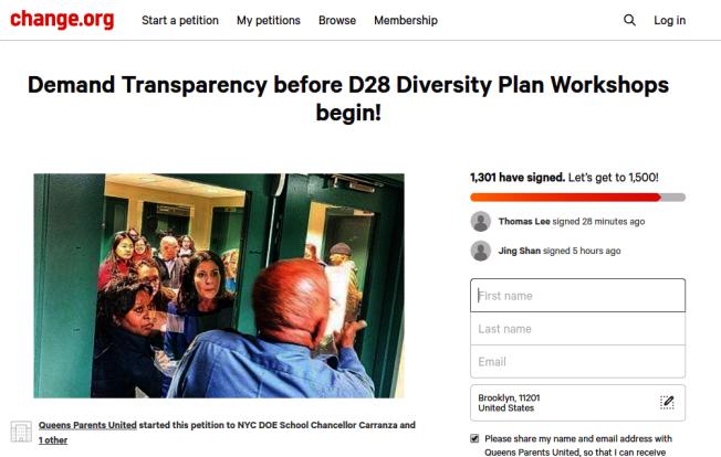 千餘位家長聯名情願,要求第28學區多元化計畫改革透明化。(取自change.org網站)