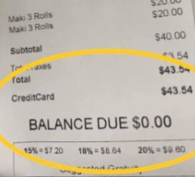 消費金額40元,但商家建議的小費金額卻是15%=7.20,18%=8.64 ,20%=9.6,讓消費者不解到底是怎麼算的。(花襯衫大叔提供)