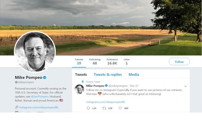 國務卿龐培歐用家鄉農地作個人推特帳號封面,媒體解讀他有意參選。(龐培歐推特)