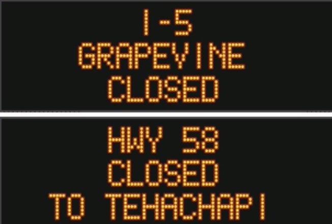 5號公路海拔最高的Grapevine地區因下雪被關閉。(加州交通局推特)