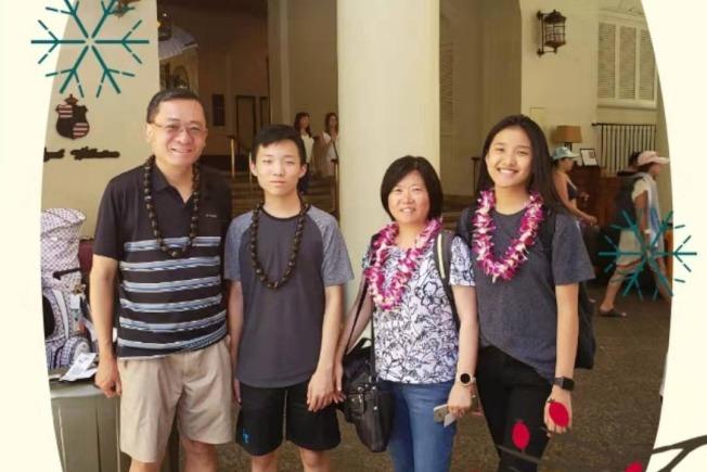 華人家庭遭遇嚴重車禍,蔡偉文(右二)不幸遇難,吳一新(左一)和他們的兒女重傷。(GoFundMe網站)