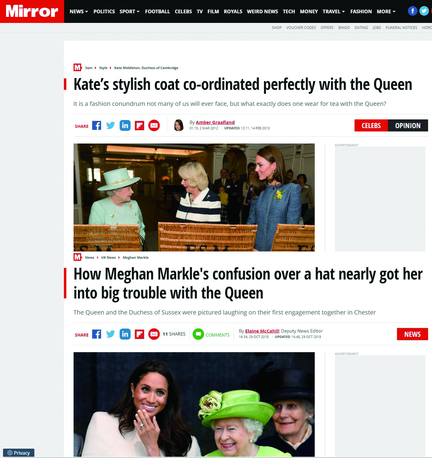 英國媒體每日鏡報在報導凱特與梅根相似新聞時,措辭不同。圖/每日鏡報網站