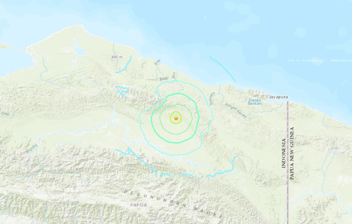 印尼東部巴布亞省發生規模6.0強震。(取自美國地質調查所)