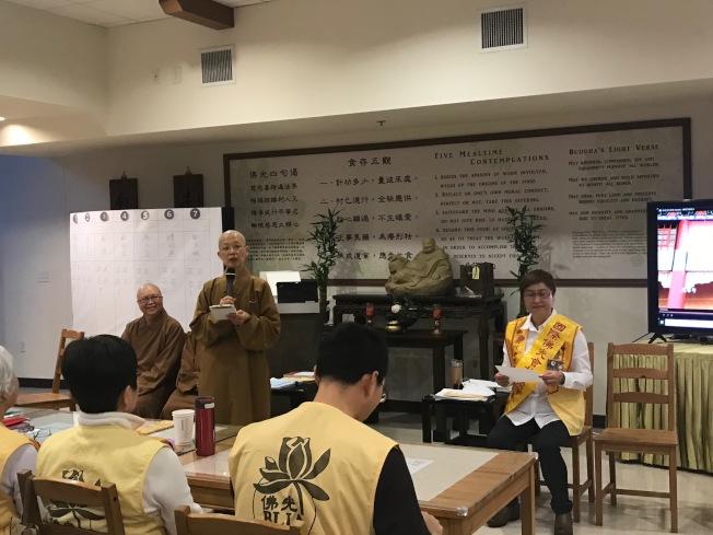北卡佛光山主持滿普法師勉勵新任理事會,以正能量擦亮佛光會的招牌。(記者王明心/攝影)