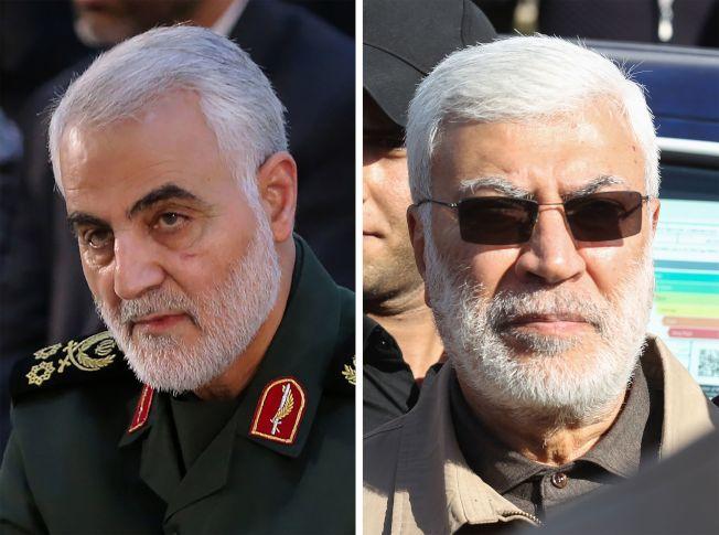 為報復大使館遭攻擊事件,美國空襲伊拉克機場,炸死伊朗革命衛隊將領卡西姆· 蘇雷曼尼(左)和伊拉克「真主黨旅」將領穆漢達斯。(Getty Images)