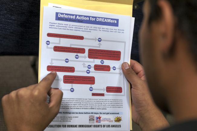 國會在政府支出法案中提出允許部分夢想生可在國會替眾議員工作,但民主黨人最終因擔憂法案被川普總統否決,而將此條文刪除。圖為一名夢想生研讀申請步驟的檔案照。(美聯社)