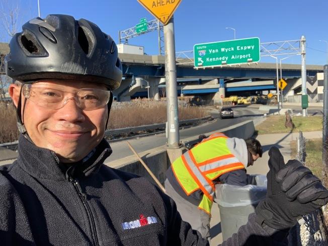 劉醇逸日前在北方大道單車道慘摔,進一步促成DOT快速修整改善。(取自劉醇逸推特)