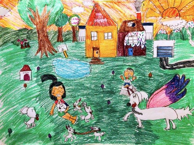 奧蘭多西點小學9歲華生楊阡陌與她的作品「永遠的快樂時光」在2019美國名犬俱樂部全國藝術大賽中獲小學組榮譽獎。(范新林提供)