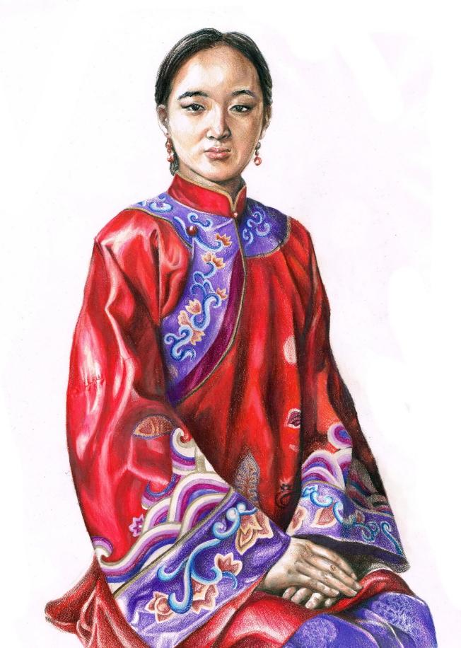 顧茗悅的彩色鉛筆畫作品「我的另類自畫像」。(范新林提供)