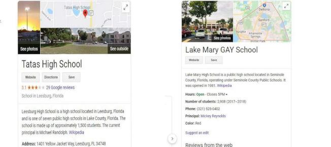 中佛州兩所高中的Google搜索結果被竄改。(截自網頁)